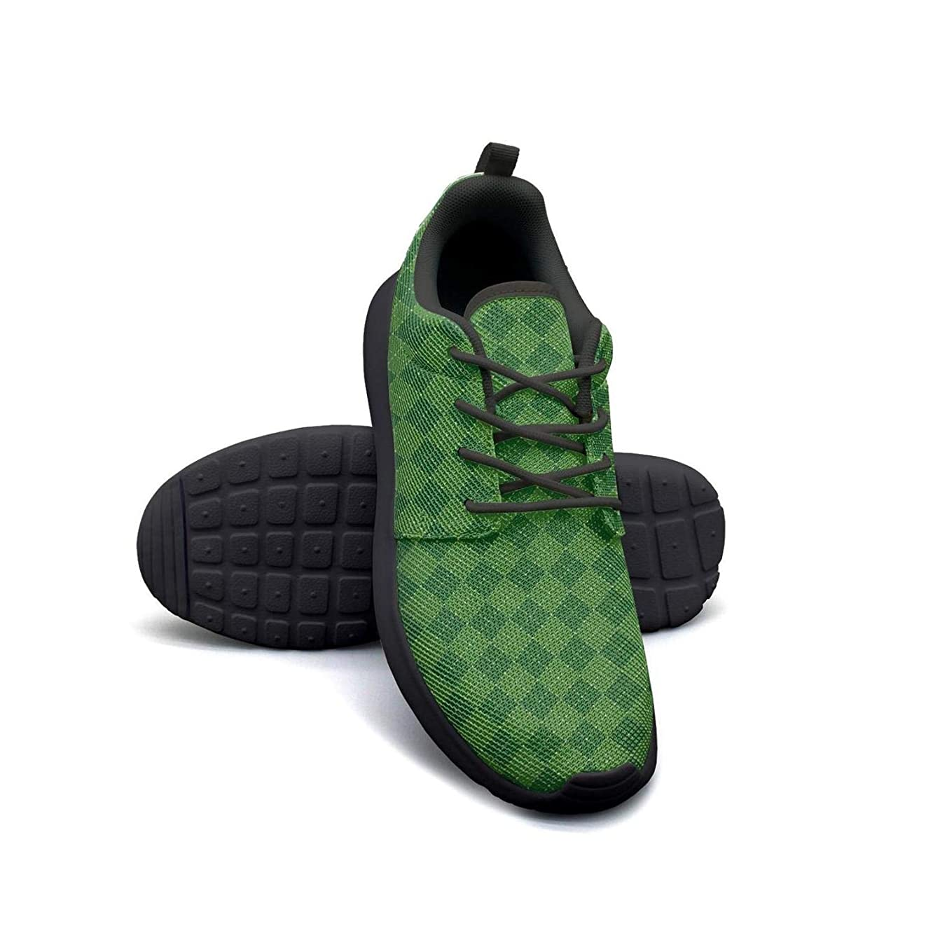 Green Skull Square Checkerboard Running Shoes Lightweight for Women Sneaker Lace-up Quick Dry Shoes