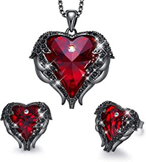 Angel Wing Heart Necklaces and Earrings Valentine's Day...