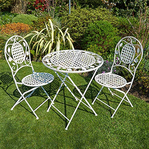 BFW Meadow Cream Bistro Set Patio Garden Furniture Table and 2 Chairs Metal