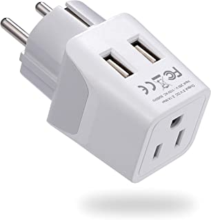Ceptics Schuko, Germany, France, Spain Travel Adapter Plug with Dual USB - Usa Input Type E/F - Ultra Compact Perfect for ...
