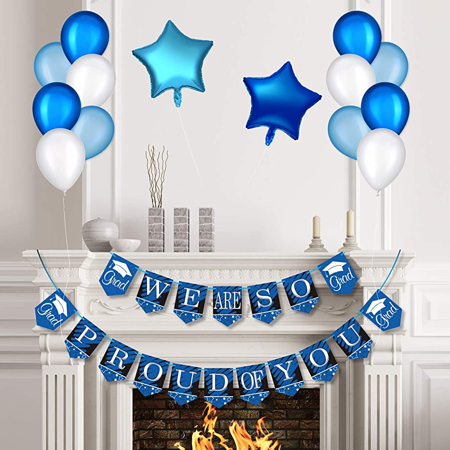Blue Graduation Party Decoration Kit, We are So Proud of You Graduation Banner and Balloons Graduation Party Suppliers and Photo Backdrop for Class of 2019 (We are So Proud of You)