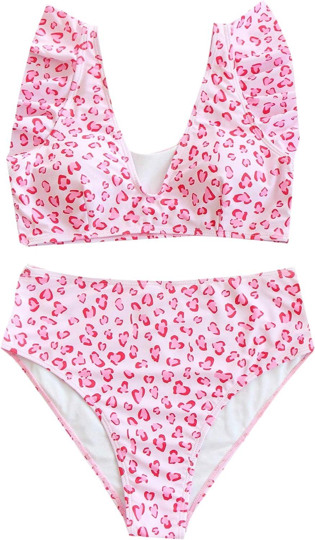 SOLY HUX Women's Printed V Neck Ruffle Trim Bikini Bathing Suit 2 Piece Swimsuits Pink Leopard L