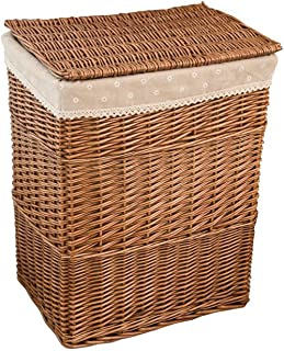 TOKYO HOT Dirty Clothes Home Storage Basket Large Storage Box Wicker Mesh Laundry Bag Laundry Hamper with Lid,C