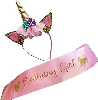 Unicorn Birthday Girl Set Gold Glitter Unicorn Headband and Sash for Girls Pink Birthday Party Kids Party