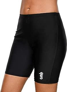 Women's Long Board Shorts High Waist Swim Bottom Solid Jammer Swim Shorts
