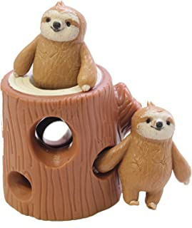 Curious Minds Busy Bags Sloths in Tree Stump - Peek a Boo Stretchy Fidget Toy - Soothing Calm Anxiety Focus ADD ADHD