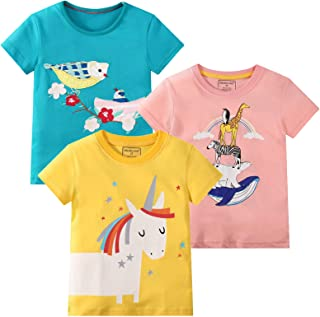 Girl Short Sleeve Tee Shirt Cotton Casual Summer Crewneck Basic Graphic T-Shirt 3 Packs Sets