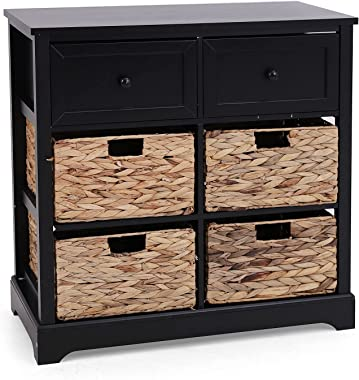 Sophia & William Accent Storage Cabinet Rustic Storage Chest with 2 Drawers and 4 Removable Water Hyacinth Baskets for En