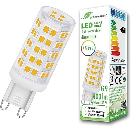greenandco® IRC 95+ Ampoule à LED dimmable G9 4W équivalent à 35W 400lm 3000K (blanc chaud) 320° 230V, aucun scintillement