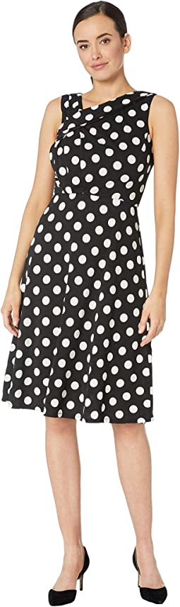 Sleeveless Polka Dot Asymmetrical Neck Dress