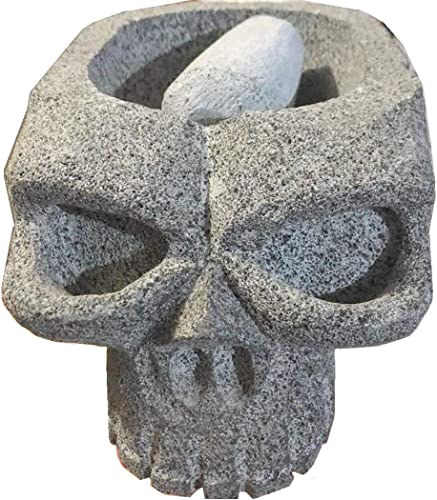 """new arrival Made in Mexico Skull Calavera Cabeza Genuine outlet online sale Mexican Manual Guacamole Salsa Maker Volcanic Lava Rock Stone Molcajete/Tejolote Mortar new arrival and Pestle Herbs Spices Grains 8x5x4"""" online"""