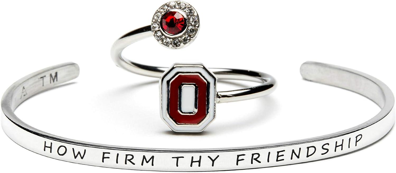 Love Ohio State Ring and Bangle Gift Set | Ohio State University Jewelry | OSU Ring | Ohio State Buckeye Bracelet | How Firm Thy Friendship Bracelet and Block O Ring Gift Set | Ohio State Jewelry
