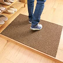 ESUPPORT Large Welcome Entrance Door Mats Household Absorbs Mud Non Slip Entryway Floor Rug, Khaki