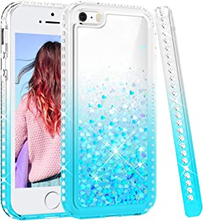 Maxdara Case for iPhone 5 5S SE with Glitter Liquid Gradient Quicksand Series Floating Sparkle Bling Rhinestone Shockproof Protective Phone Girls Women Pretty Case (Teal)