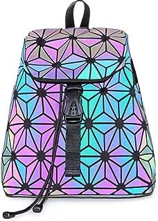 KAISIBO Fashion Geometric Luminous Backpack Lattice Reflective Backpacks for women (Flower Luminous)