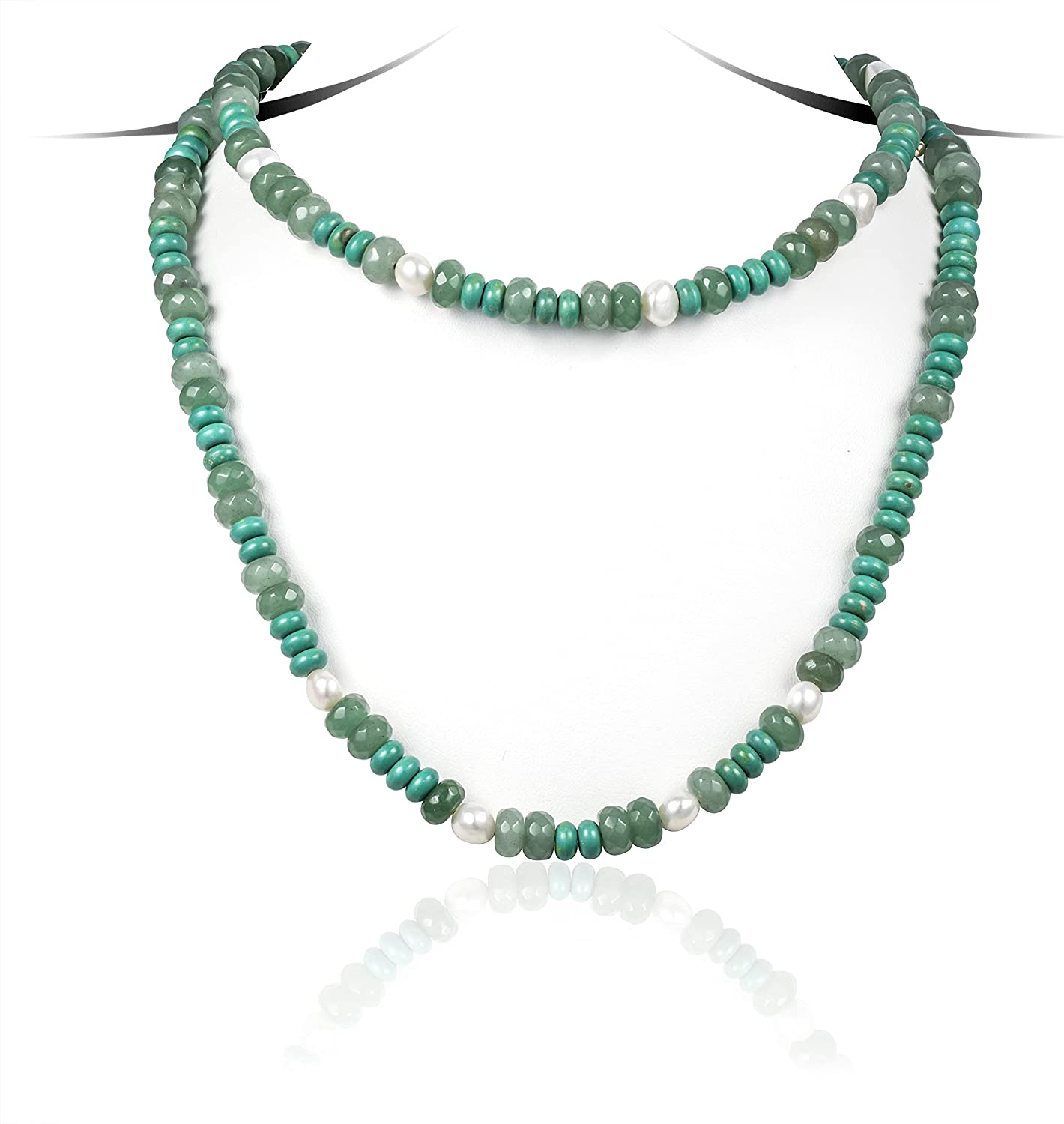 Cowlyn Double Layer Necklace Long Turquoise Pearl Beaded Synthetic Crystal Strand Chain Handmade Jewelry for Women Girls