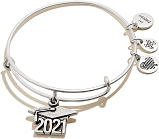 Alex and Ani Connections Expandable Bangle for Women, 2021 Graduation Cap Charm, Rafaelian Silver Finish, 2 to 3.5 in