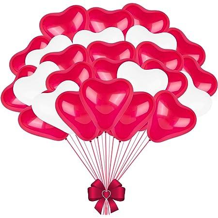 FORMIZON 60 Pezzi Palloncini Cuore Rosso Bianco, Palloncini a Forma di Cuore, Palloncini Matrimonio Cuore per Matrimoni, Anniversari, San Valentino, Compleanno