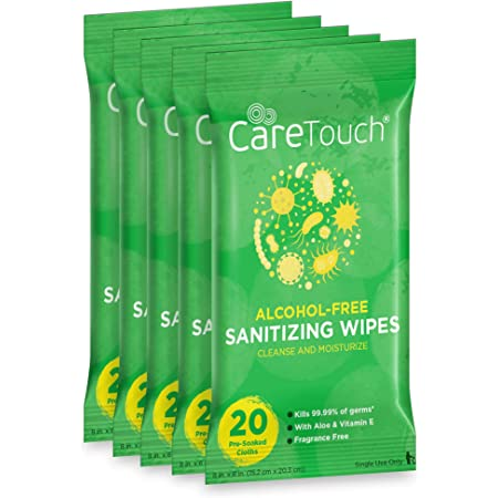 Care Touch Alcohol-Free Hand Sanitizing Wipes - 5 Pouches, 100 Wipes - Moisturizing Hand Wipes with Vitamin-E and Aloe Vera - Great for Babies and Adults, Safe for All Skin Types
