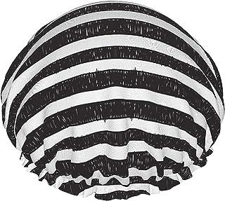 Czarne paski wodoodporny czepek prysznicowy z elastycznym obszyciem odwracalna konstrukcja do prysznica do spania czapka n...