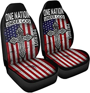 VTH Global One Nation Under God Pledge of Allegiance USA Patriot Pride American Flag Car Seat Covers Size Universal Fit Birthday Christmas for Dad Mom Husband Wife Son Daughter Veteran Men Women