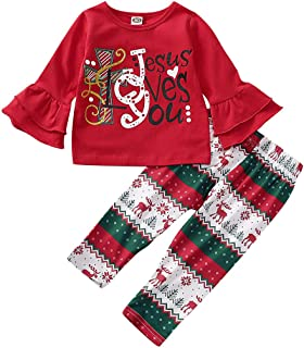 Toddler Baby Girls Christmas Outfits Long Bell Sleeve with Cute Letter Shirts + Cartoon Reindeer Pants Clothes Sets 2Pcs