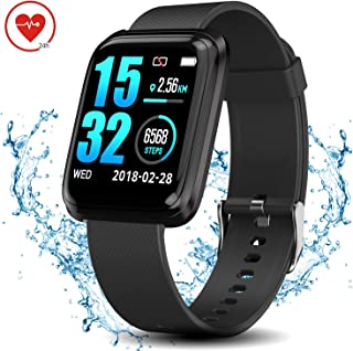 WearNow Fitness Tracker Watch, IP68 Waterproof Activity Tracker with Pedometer Sleep Tracker Heart Rate Monitor Brightness Adjustment, 1.3 Inches Smart Running Wrist Watch for Men Women Kids