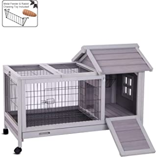 Aivituvin Rabbit Hutch Outdoor and Indoor on Wheels, Wooden Bunny Cages with Deeper Leakproof Tray - Upgrade with Metal Wire Floor,40.4