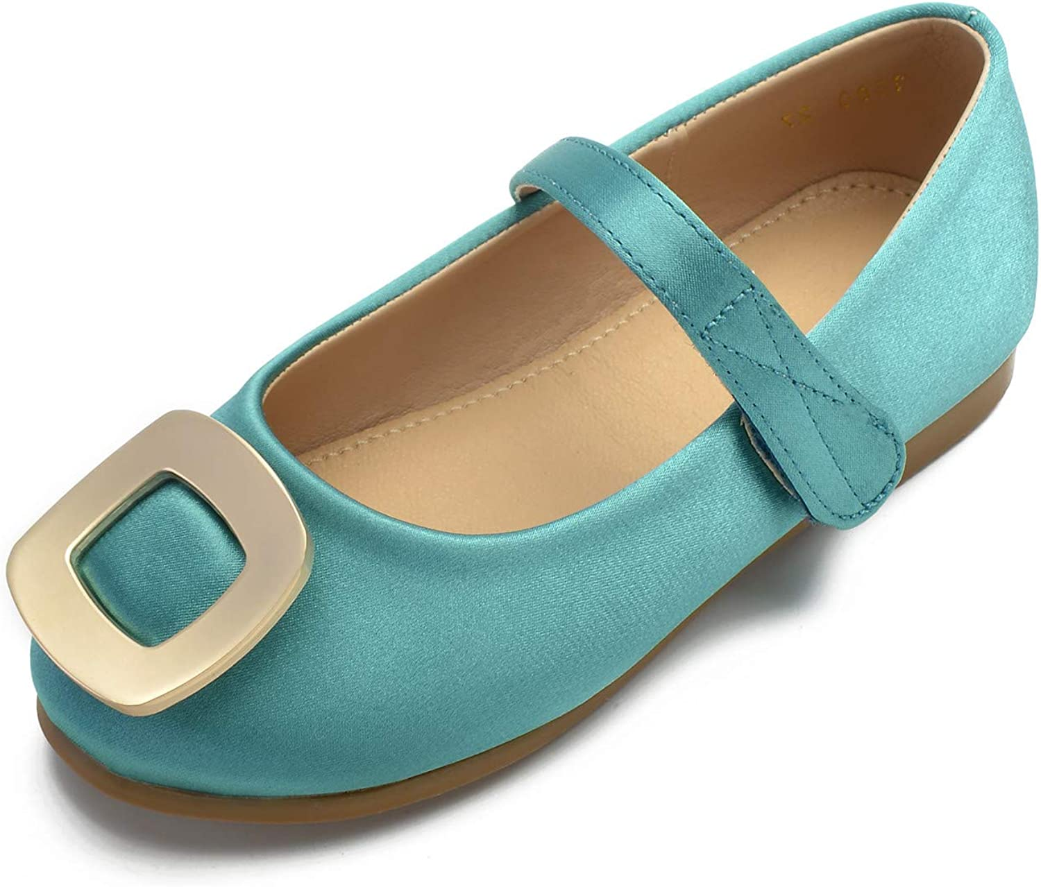 CCBubble Flat Satin Mary Jane Shoe for Girls Round Toe Ankle Strap Princess Dress Flat Shoes for Girls 1211-2/3