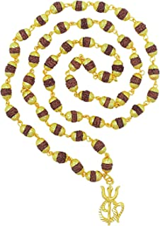 Saizen CHR281 Rudraksha Mala OM with Trishul Gold Plated Rudraksh Necklace Chain Long 28 Inches For Men/Boys/Boyfriend/Husband & Unisex