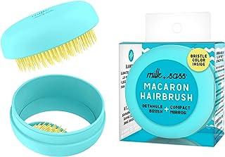 DETANGLING TRAVEL HAIR BRUSH WITH COMPACT MIRROR - On The Go Travel Size Brush - Ultimate Detangler - Women and Kids - Milk+Sass Macaron for Hair, Blue Turquoise
