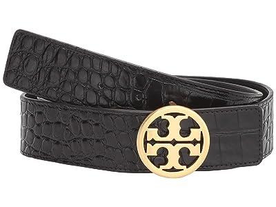 Tory Burch 1.5 Embossed Croc Logo Belt (Black/Gold) Women