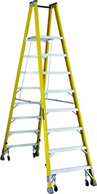 Louisville FMP2008-4C Twin Front Platform Ladder with 8-Feet Standing Height and Casters, 24 X 14.4-Inch