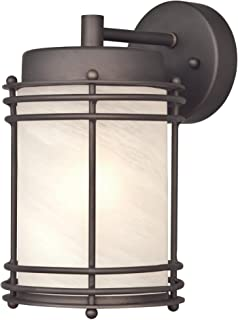 Standard Dimmable Dry Safety Rating Maxim 54382PLIO Pike Place LED 1-Light Outdoor Wall Lantern Pellet Glass 60W Max. Iron Ore Finish Rated Lumens Maxim Lighting Shade Material PCB LED Bulb