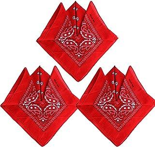 QUMAO Pack de 3 Pañuelos Bandanas de Modelo de Paisley para Cuello/Cabeza Multicolor Múltiple 100% Algodón para Mujer y Hombre
