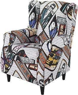 HOGAR TAPIZADO Butaca sillón orejero Nadia tapizado en Tela Estampada Carteles New York Pop 100 x 72 x 74