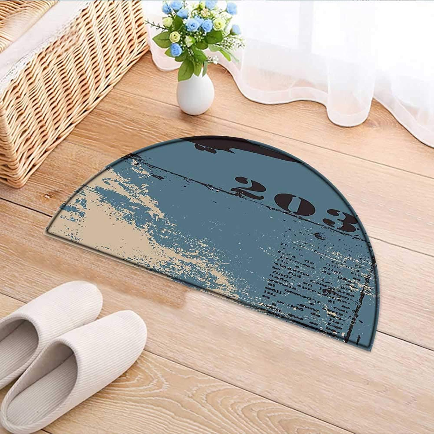 Entrance Hall Carpet Silhouette Flying Military Theme Lettering Typography Vintage Worn Slate bluee Black Silver Non Slip Rug W39 x H28 INCH