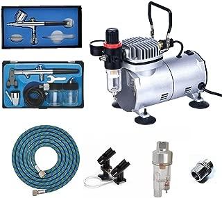 ABEST Kit compresor Airbrush Plus accesorios para aerógrafo – Manguera de aire, porte-aérographe, mini-filtre, aerógrafo doble efecto de blanco