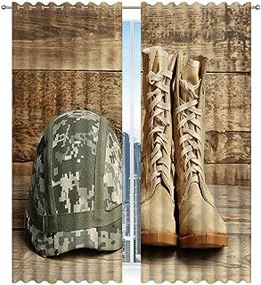 Hitecera Pair Combat Boots Military Helmet On Window Panels Set of 2 for Bedroom..