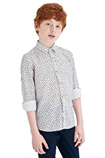 DeFacto Leaves Pattern Chest-Pocket Roll-Up Long Sleeves Cotton Shirt for Boys