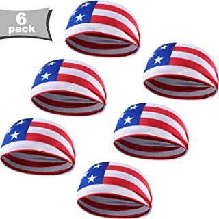 WILLBOND 6 Pieces USA Flag Bandana American Flag Headbands Sweatbands Running Sweat Headbands Sports Head Bands Patriotic Headband for Independence Day Accessories