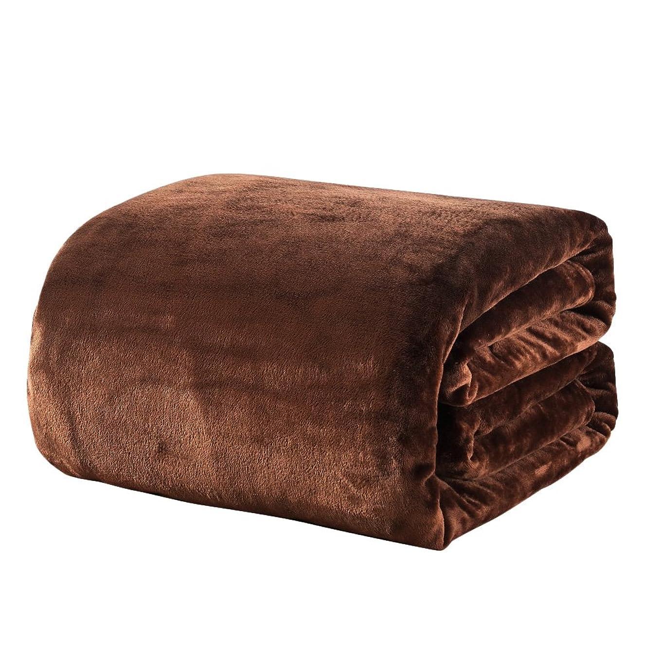 に渡ってうがい衣類毛布 ダブル あったか マイクロファイバー 軽い 暖かい柔らかい ふわふわ 洗える フランネル 毛布(ダブル?180×200cm, ブラウン)