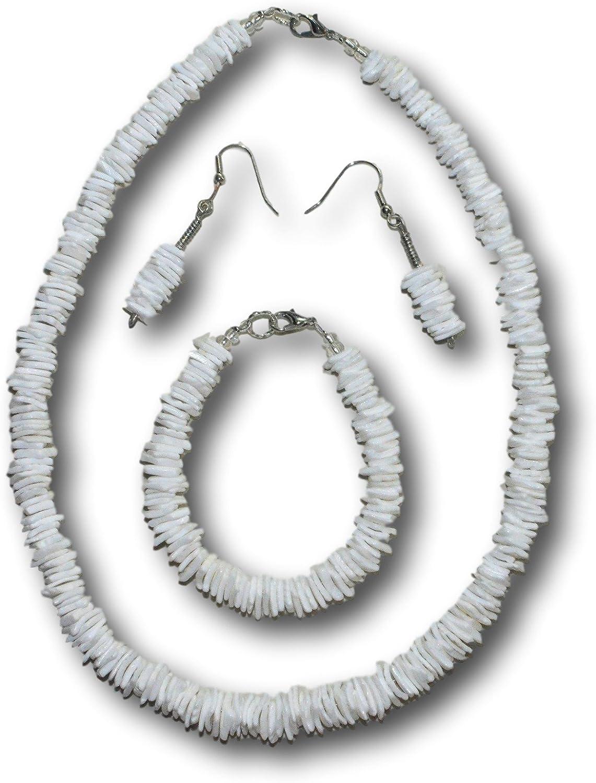 Native Treasure - 4pc Set, White Rose Clam Shells, Puka Shell Necklace, Bracelet, Earrings