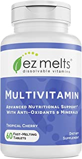 EZ Melts Multivitamin with Iron, Sublingual Vitamins, Vegan, Zero Sugar, Natural Cherry Flavor, 60 Fast Dis...