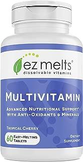 EZ Melts Multivitamin with Iron, Sublingual Vitamins, Vegan, Zero Sugar, Natural Cherry Flavor, 60 Fast Dissolve Tablets