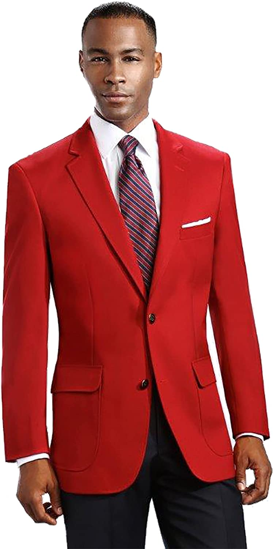 Men's Elegant Modern 2 Button Notch Lapel Blazer - Many Colors (38 Short, Red)