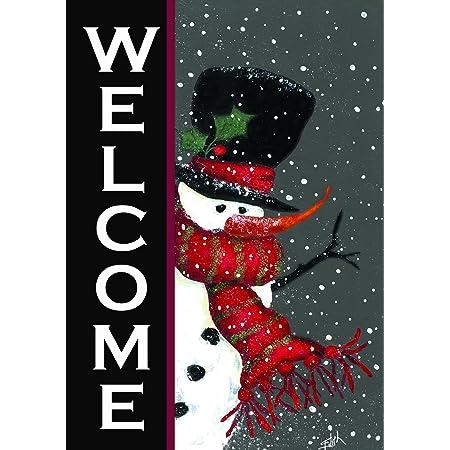 Amazon Com Toland Home Garden Snowman Welcome 12 5 X 18 Inch Decorative Winter Christmas Double Sided Garden Flag Outdoor Flags Garden Outdoor
