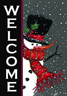 Toland Home Garden 100563 Snowman Welcome Decorative Winter Christmas Double Sided House Flag, (28