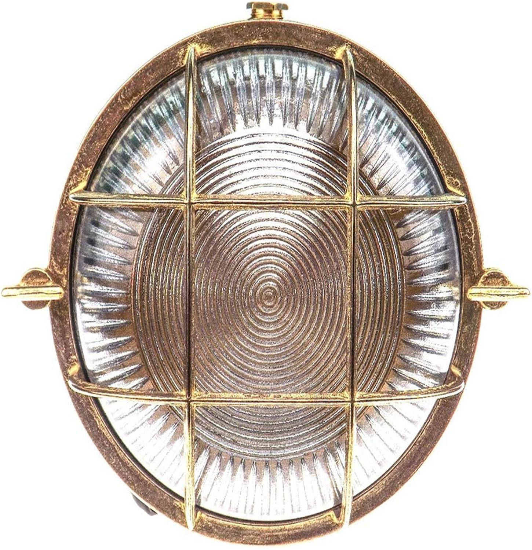Lichtdiscus Brass Bulkhead Round Outdoor Waterproof Light Nautical Marine Wall Lamp Industrial Light Polished Brass