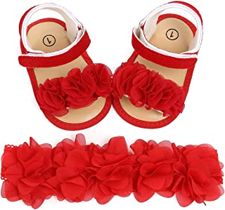 Kuner Baby Girls Glitter Sandals Soft Soled with Bow Ribbon Toddler Girls Shoes